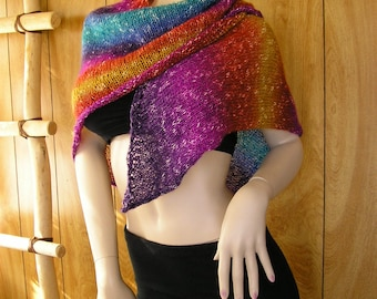 "scarf, shawl, pareo, blended rainbow shades, asymmetrical crescent moon scarf, triangle shape  60"" x 48"" x 50"", hand knit"