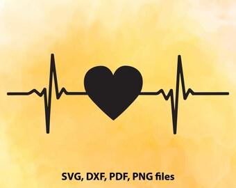 Heartbeat SVG File, Heart beat DXF, Heartbeat Cut File, Heart beat PNG, Heartbeat Cricut,  Cameo File, Silhouette, pdf, studio, Heart beat