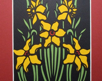 "8x10"" Art Deco Narcissus Paper Cutting Handmade, Spring Flowers"