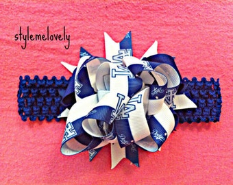 LA Dodgers Baby girl Boutique Bow Crocheted Headband