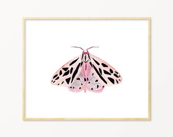 Pastel Watercolor Moth. Pink Winged Moth Art. Unique Nursery Decor. Little Girl Room Art. Spring Time Watercolor.