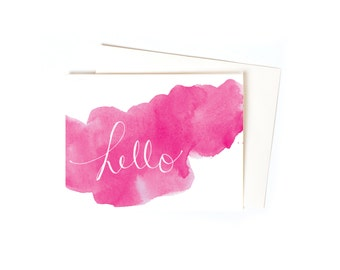 Hot Pink Watercolor Thank You Note Greeting Card Set