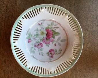 Vintage porcelain CS Bavaria bowl - reticulated rim - pierced rim - wild roses - delicate