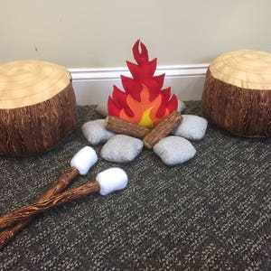 SALE, Kids Campfire Set with 2 Log seats and 2 Marshmallow Sticks, Brown Bark Logs and Gray River Rock, Stuffed Toy, Pretend Play