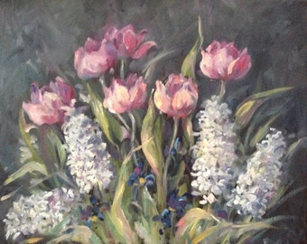 Tulips and Hyacinths Painting Original Oil Floral Painting 16 x 20""
