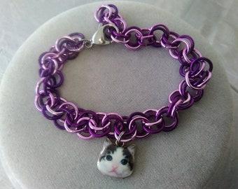 Purple Cat Chain Bracelet