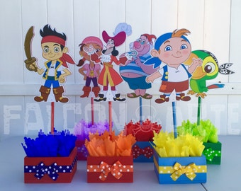 Jake and the Neverland Pirates birthday party wood guest table centerpiece decoration Jake Izzy Cubby Skully Mr. Smee Captain Hook SET OF 6