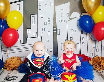 Wonder Woman Costume | Gold Wonder Woman 1st Birthday Outfit | Baby Tutu | Tutu Dress | Baby Girls Cake Smash Outfits Twins Birthday Ideas