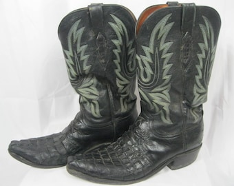Black Alligator Leather Lucchese Boots 1883 Size 10 1/2 D