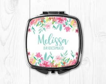 Bridesmaid Gifts Gift for Bridesmaid Gift Ideas Aqua Personalized Bridesmaid Gift Compact Mirror Wedding Gifts for Bridesmaids Mint Pink