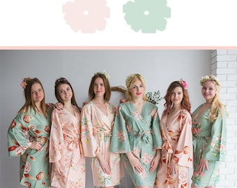 Blush and Sage Wedding Color Bridesmaids Robes - Premium Soft Rayon - Wider Belt and Lapels - Wider Kimono sleeves