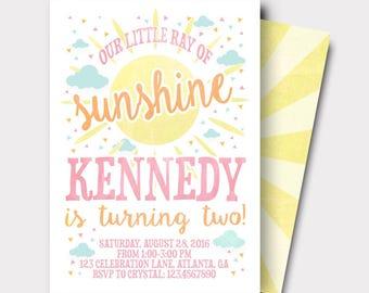 Sunshine Birthday Invitation | You Are my Sunshine | Summer Birthday Invitation | First Birthday | Second Birthday |