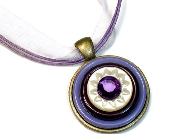 Sweet Lavender Purple Necklace Pendant , Upcycled Button, Repurposed Buttons, Cute Gifts