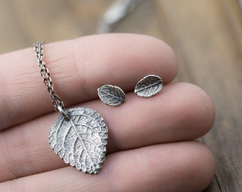 Rustic Leaf Jewelry Set in Sterling Silver | Outdoors Gift | Leaf Pendant Necklace and Stud Post Earrings | Handmade Jewelry by Burnish