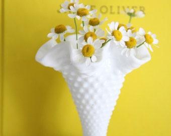 Hobnail Milk Glass Vase by Fenton, Fenton Vase, Ruffled Vase, Hobnail Vase
