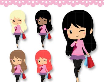 Chibi Shopping Kawaii Clipart. Girl shopping Set for Planner Stickers, Scrapbooking, Paperclips. Personal or Commercial Use.