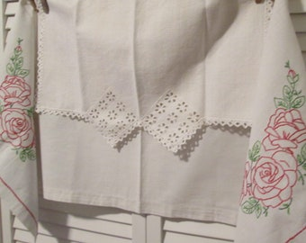 Vintage White Linens - Embroidered Dresser Scarf and Linen Doily - Country/ Cottage Bedroom Decor