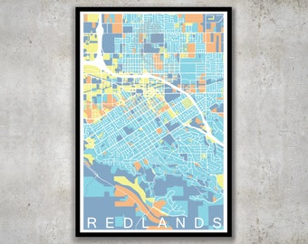 Redlands California Map, City Map Print