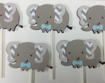 Elephant Cupcake Toppers for a Baby Boy Shower