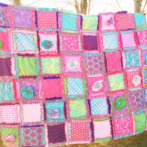 Ruffle Flower Rag Quilt Pattern Girl Quilt Pattern Sewing