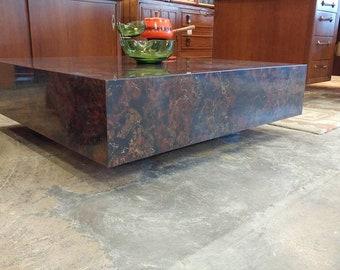 Mcm Milo Baughman Style Mid Century Modern Large Square Coffee Table