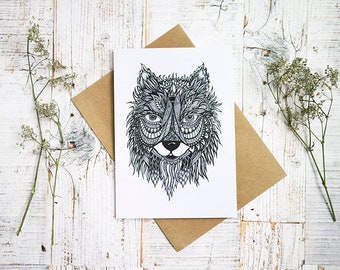 Wolf Illustrated Card | Recycled Greetings Card | Eco Friendly Stationery | Wolf Ink Illustration |  Wild Animal Art