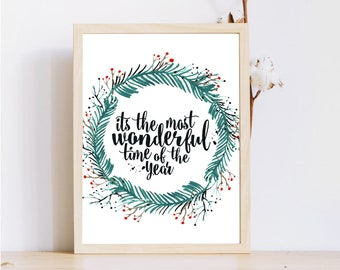 The most wonderful time of the year,Wreath Printable Christmas,Holiday Quote Poster,Printable Christmas quote,Christmas Wall Art,8x10, Print