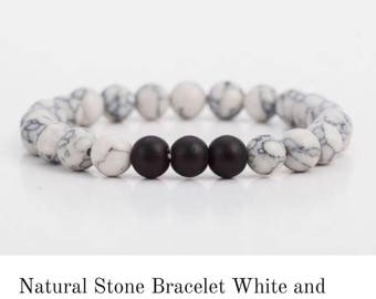 Natural Stone Bracelet White and Black