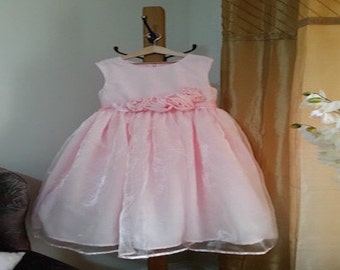 Dress child girl, dress pink organza, flower girl dress, birthday dress