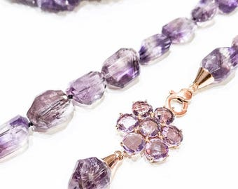 Ametrine Necklace with Amethyst Flower Clasp