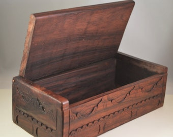 Vintage carved wooden jewelry box,storage box
