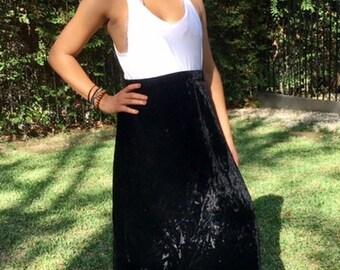 Black velvet skirt, maxi skirt, small, medium, skirt