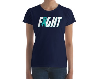 Ovarian Cancer Shirt - Fight Cancer Shirt - Ovarian Awareness - Teal Ribbon - Ovaries Cancer - Survivor - Support  Women's T Shirt