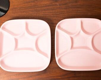 Vintage Divided Plate - Pink Ceramic Dinner Plate - Made in Japan