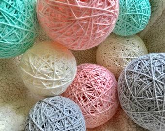 Aqua Blush Gray and Off White Yarn Balls