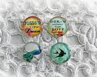 Reneabouquets Glass Dome Cabochon Trinkets 4  Pack~Scrapbook Embellishment, Craft Supply, Jewelry Charm