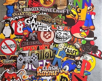 Set of stickers Geek, video games, gamer, console, nintendo hero, your choice