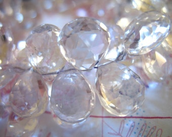 6 12 20 pcs, Clear CRYSTAL Quartz Briolettes Pear, Luxe AAA, 10-11.5 mm, Faceted, April birthstone brides bridal weddings 1011 crc
