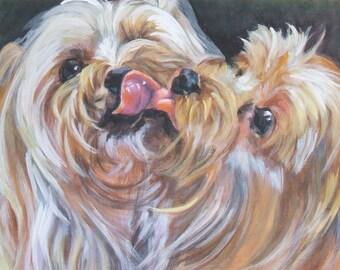 "Yorkshire Terrier YORKIE PORTRAIT dog art canvas PRINT of LAShepard painting 8x10"""