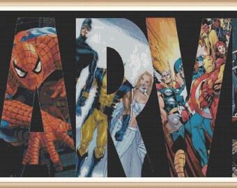 Marvel Cross Stitch Patterns - Super Hereos - Spider Man, Wolverine, Punisher - PDF Download