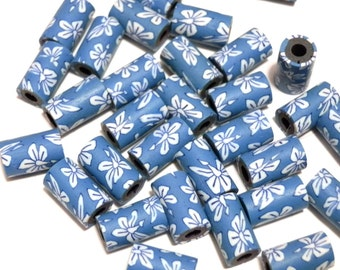 20 Fimo Polymer Clay Tube White Flowers Beads