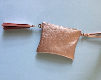 Rose gold leather clutch, gold leather wristlet, rose gold purse