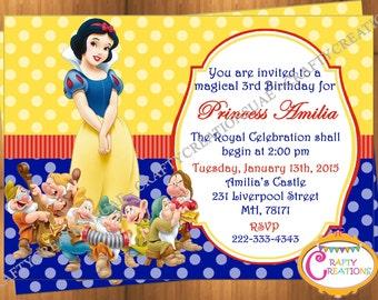 Snow White Invitation - Snow White Birthday Party Invitation - Snow White Seven Dwarfs Invite - Snow White Printable - CraftyCreationsUAE