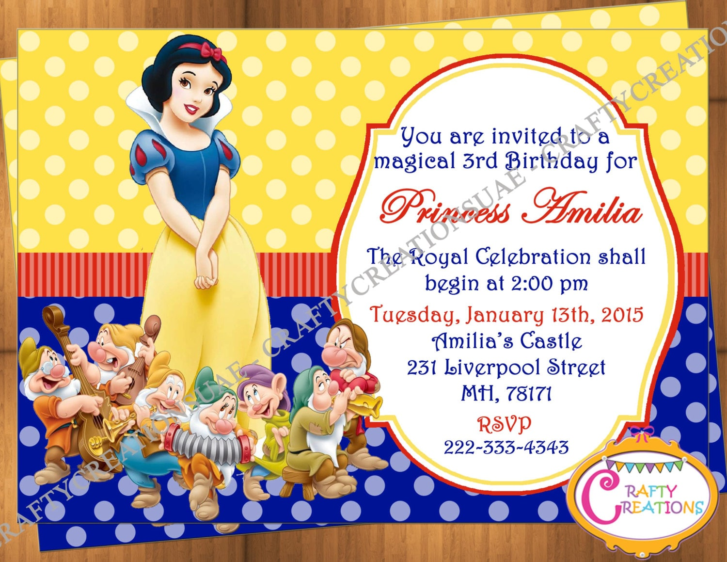Snow White Invitation Snow White Birthday Party Invitation