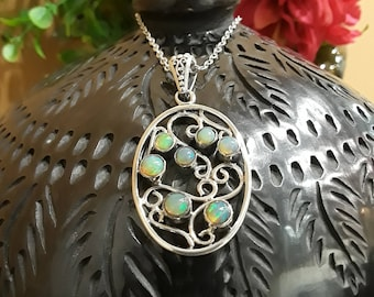 Sterling silver opal pendant with chain