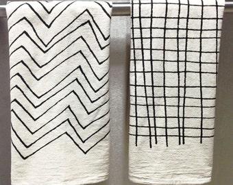 CHEVRON  or PLAID Tea Towel - Screen Printed Organic Cotton Flour Sack Towel - Soft and Absorbent Dish Towel
