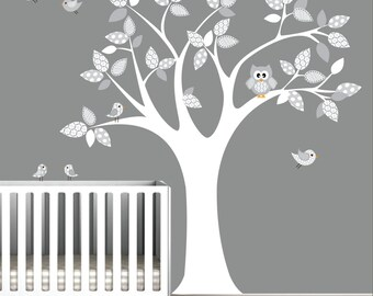 Vinyl WAll Decal Nursery Wall Vinyl-Tree with Owl,Birds,Pattern-e22