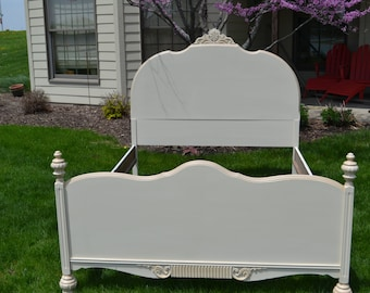Full Vintage  bed cream and champagne  headboard footboard and side rails