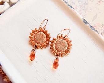 Clytie - copper sunflower earrings - sunflower charm earrings - copper earrings - amber earrings
