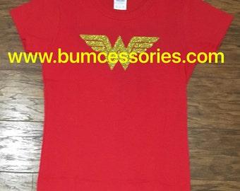 Wonder Woman Shirt  Logo WonderWoman Logo Sparkle Glitter Red T-Shirt